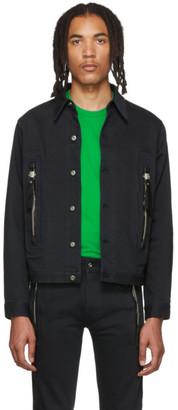 Sankuanz Black Denim Zip Pocket Jacket