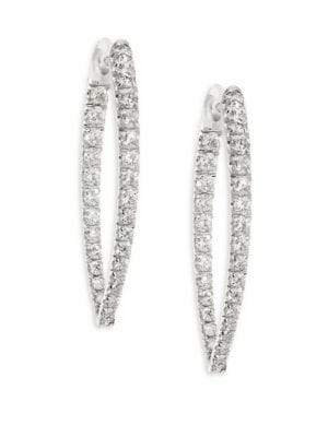 Christina Melissa Kaye Medium Diamond& 18k White Gold Hoop Earrings/1.25""