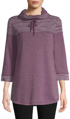 ST. JOHN'S BAY SJB ACTIVE Active 3/4 Sleeve Texture Mix Cowl Neck Pullover