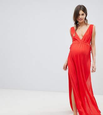 Asos DESIGN maternity gathered waist crinkle high low hem beach dress