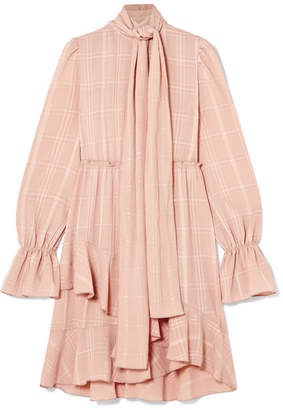 See by Chloe Pussy-bow Asymmetric Plissé-crepe Dress - Pink