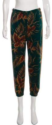 Aviator Nation Velour Printed Mid-Rise Pants