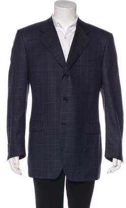 Canali Windowpane Wool & Silk Blazer