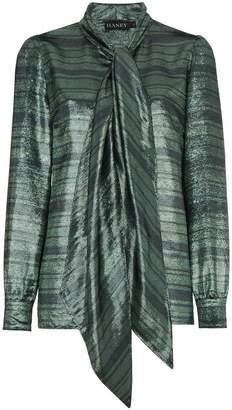Haney Susanna Silk Neck Scarf Striped Blouse