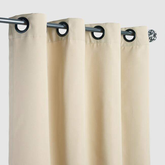 Sunbrella Antique Beige Canvas Grommet Top Outdoor Curtain