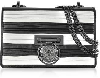 Balmain Black/white Striped And Pleated Leather Bbox 20 Flap Shoulder Bag