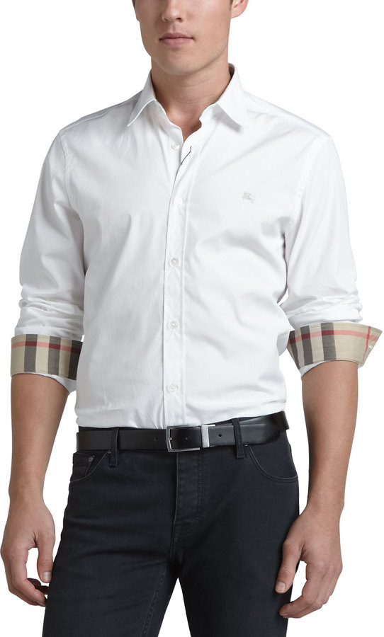 Burberry Brit Henry Check-Detail Sport Shirt, White