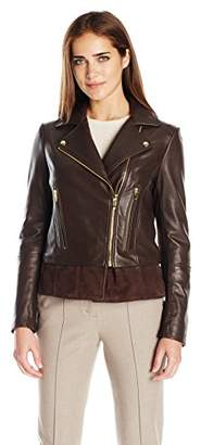Via Spiga Women's Real Leather Moto Jacket $358.83 thestylecure.com