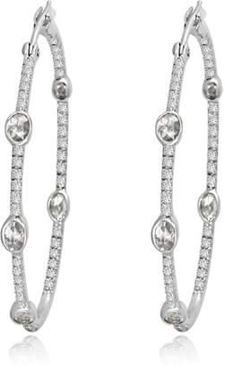 Diamond HoopsWhite Gold 4cm Rosecut Units in 18k White Gold