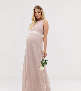 TFNC Maternity Maternity bridesmaid exclusive satin bow back maxi dress in pink