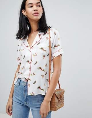 Pepe Jeans Suna Bird Print Rever Collar Shirt