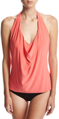 Magicsuit Sophie Solid Cowl-Neck Tankini Swim Top, Pink