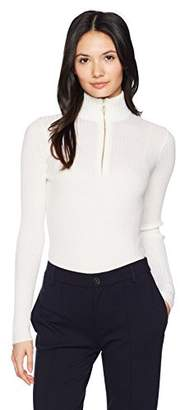 Lacoste Women's Derby Rib Turtleneck Fitted Sweater with Zip