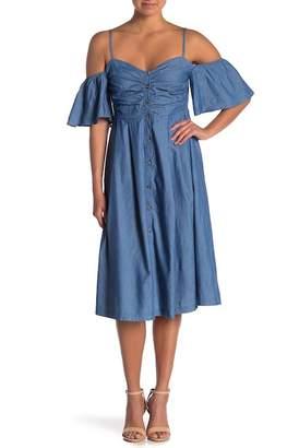 A.Calin Cold Shoulder Chambray Dress