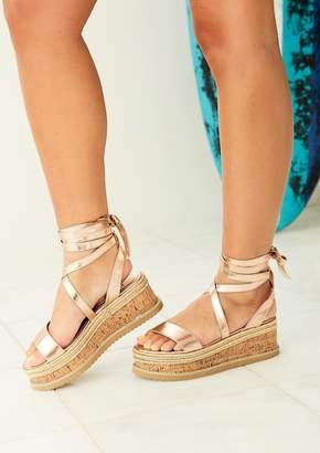 05184609c04e Missy Empire Missyempire Jolene Rose Gold Tie Up Espadrille Flatform Sandals
