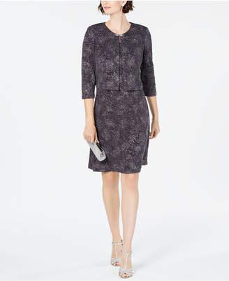 Alex Evenings Jacquard-Knit Dress & Jacket