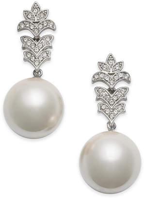 Nina Silver-Tone Crystal & Imitation Pearl Drop Earrings