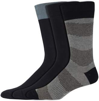 Dockers Men's Classic Smart 360 Flex 3-pack Striped & Solid Casual Crew Socks