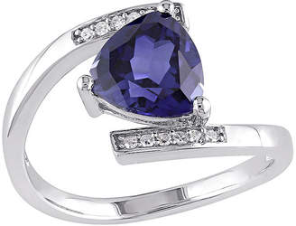 FINE JEWELRY Lab-Created Blue Sapphire and Diamond-Accent Sterling Silver Bypass Ring
