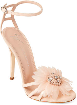Giuseppe Zanotti Floral Embellished Ankle Strap Leather Sandals