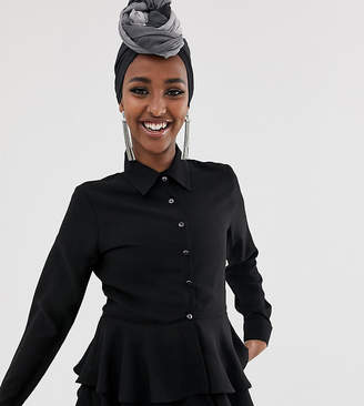 Verona frill long sleeved shirt in black