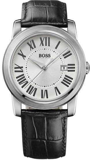 BOSS HUGO BOSS Roman Numeral Leather Strap Watch, 40mm
