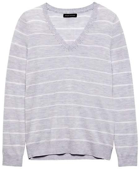 Washable Merino Wool Stripe V-Neck Sweater