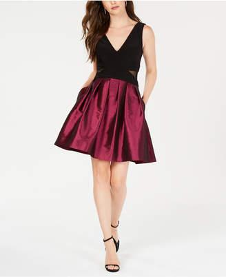 Xscape Evenings Mesh-Inset Fit & Flare Dress