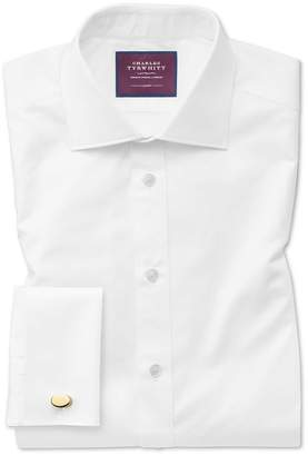 Charles Tyrwhitt Slim Fit White Luxury Twill Egyptian Cotton Dress Shirt French Cuff Size 15/35