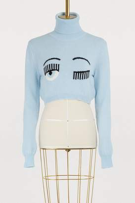 Chiara Ferragni Merino cropped turtleneck sweater