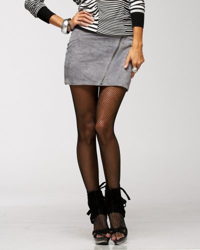 Suede Zip Mini Skirt