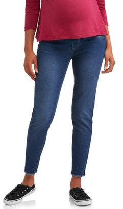 Oh! Mamma Maternity Under Belly Frayed Hem Skinny Jeans - Available in Plus Sizes