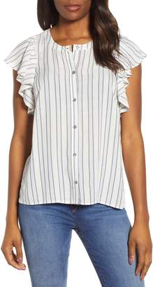 1 STATE 1.STATE Ruffle Cap Sleeve Stripe Button Down Top