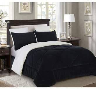 Lorient Home Reversible 3 piece Fleece/Sherpa Down Alternative Comforter set - Full/Queen - Black