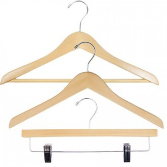 Laundry by Shelli Segal NAHANCO Economy Wood Clothes Hanger Kit - Natural w/Chrome Hardware - Home Use