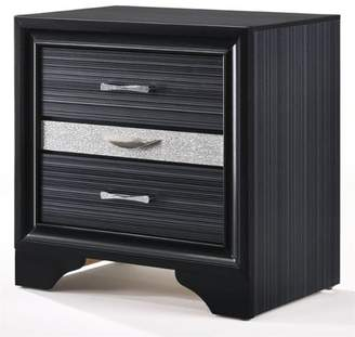 ACME Furniture ACME Naima 3 Drawers Nightstand in Black Rubberwood