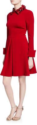 Badgley Mischka Embellished Collar Long-Sleeve Inverted Pleat Shirtdress