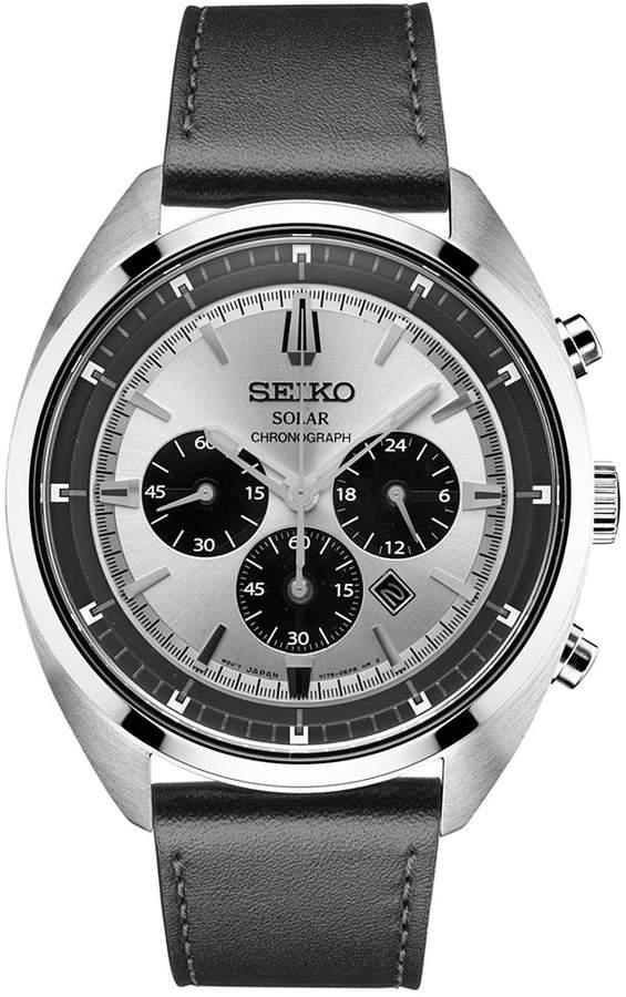 SeikoSeiko Men's Solar Chronograph Recraft Series Black Leather Strap Watch 43mm SSC569