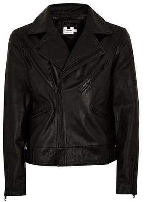 Topman Mens Black Leather Biker Jacket