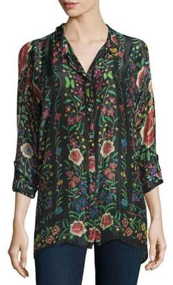 Johnny Was Emby Button-Front Floral-Print Blouse, Black/Multi