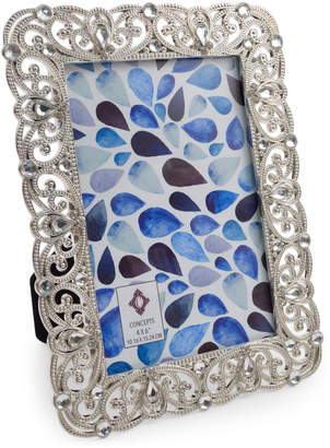 """Concepts In Time 5"""" x 7"""" Embellished Silver-Tone Scalloped Picture Frame"""