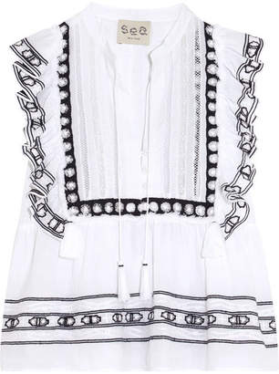 SEA - Ruffled Crochet-trimmed Cotton-voile Blouse - White $295 thestylecure.com
