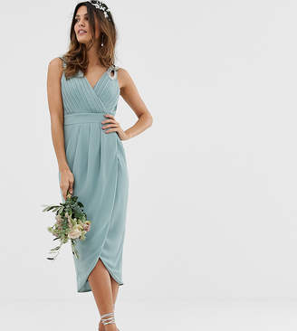 TFNC bridesmaid exclusive wrap midi dress in sage