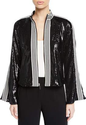 Nanette Lepore Le Freak Long-Sleeve Sequin Jacket w/ Striped-Trim