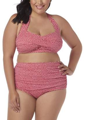 Simply Slim Women's Plus-Size High-Waisted Bikini Two-Piece Glam Swim Set