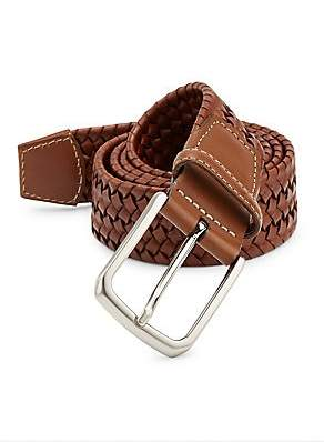 Saks Fifth Avenue Woven Stretch Leather Belt