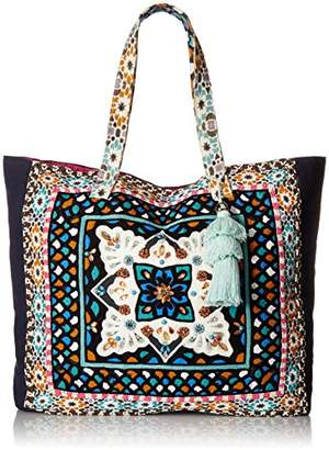 Steve Madden Colleen Large Tribal Geometric Bohemian Fabric Tote Shoulder Handbag