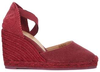 Castaner Carina Natural Jute And Cherry Red Wedge Sandal