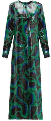 Marni Paisley Sequinned Dress - Womens - Green Multi
