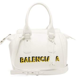 Balenciaga Monday Logo Print Leather Bowling Bag - Womens - White Multi